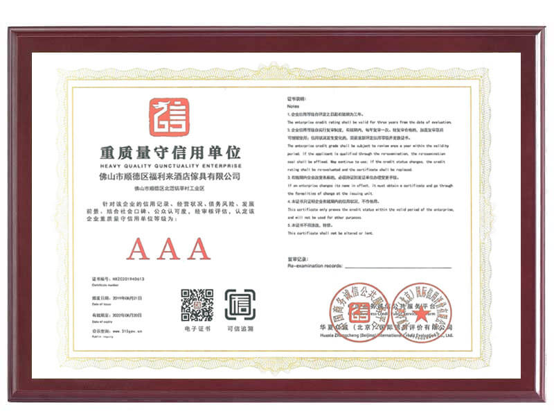 3A Certificate of Total Quality and Credit-keeping Unit